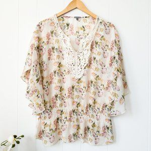Charlotte Russe Sheer Floral Blouse with Lace